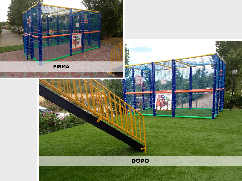 Parco giochi per bambini in erba sintetica decorativa EverGreen: prima e dopo